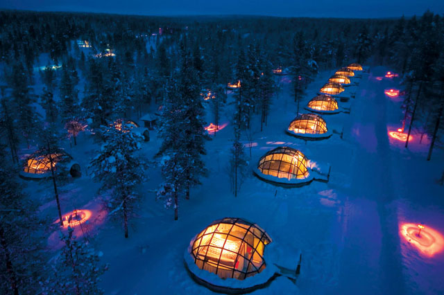 Finland - Glass Igloo hotel in Kakslauttanen