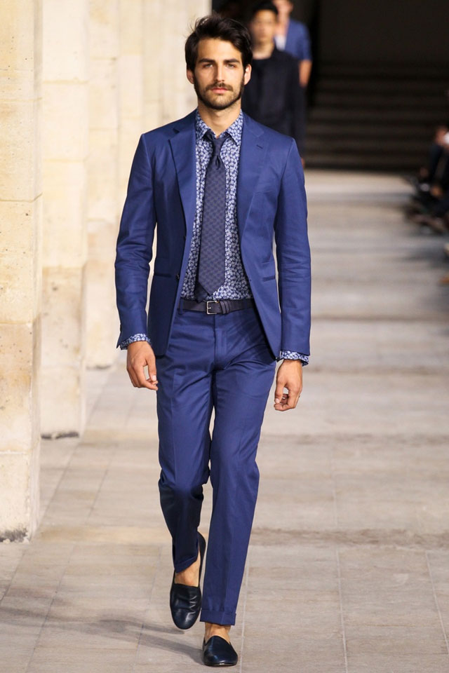 Hermes - Printed shirt with Blue suit