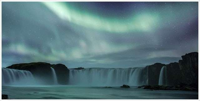 Northern Lights over Godafoss Waterfall