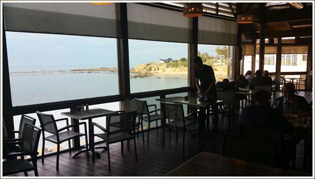 Restaurant overlooking old port of Caesarea - Israel